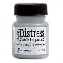 Краска-кракелюр Distress Crackle paint (Ranger), цвет Brushed pewter (Олово)