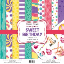 "Набор бумаги 20*20 см из коллекции ""Sweet Birthday"", 10 листов + Бонус (Фабрика декору, Украина)"
